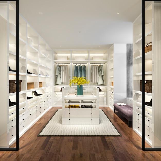 3d представляя минимальную белую скандинавскую прогулку древесины в шкафе с шкафом Premium Фотографии