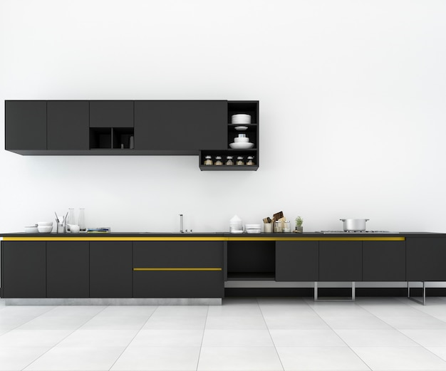 3d rendering minimal yellow and black and retro kitchen in loft design Premium Photo