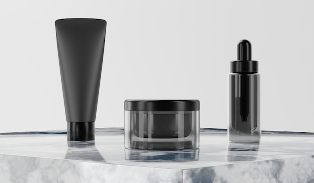 3d rendering mock up cosmetic bundle for skin care. Premium Photo
