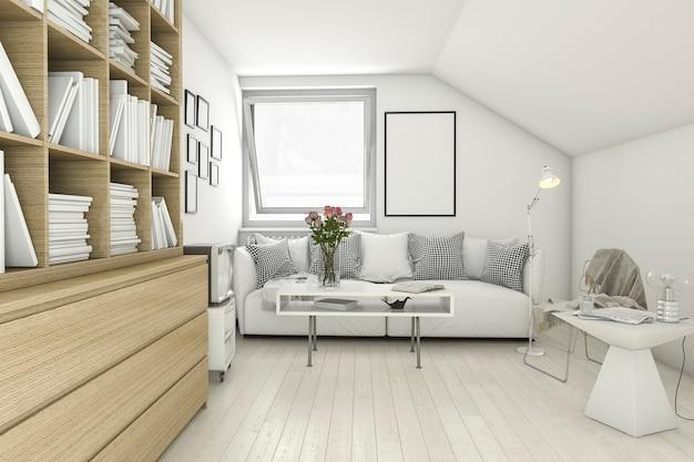 3d rendering mock up frame in living room library Premium Photo