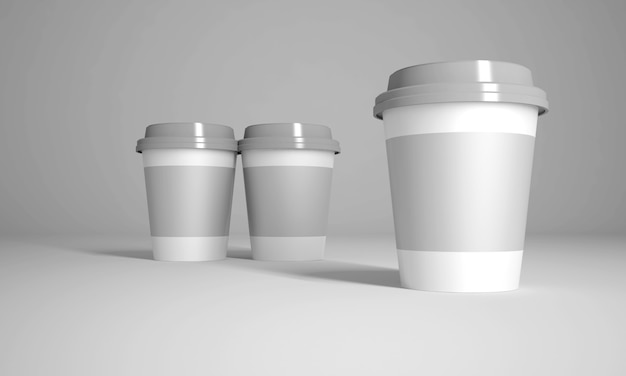 3d rendering mock up glasses for hot or cold drinks Premium Photo