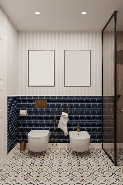 3d рендеринг. смоделируйте картины в ванной комнате со стенами, выложенными голубой плиткой. Premium Фотографии