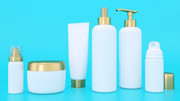 3d rendering mockup for cosmetic containers Premium Photo