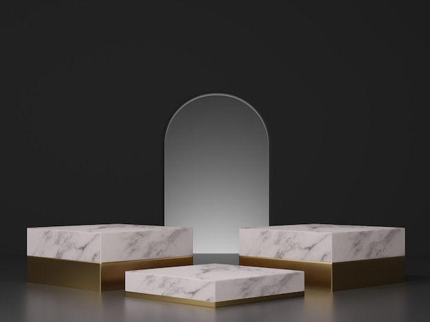 3d rendering mockup of white marble with gold pedestal steps and arch entrance on dark background Premium Photo