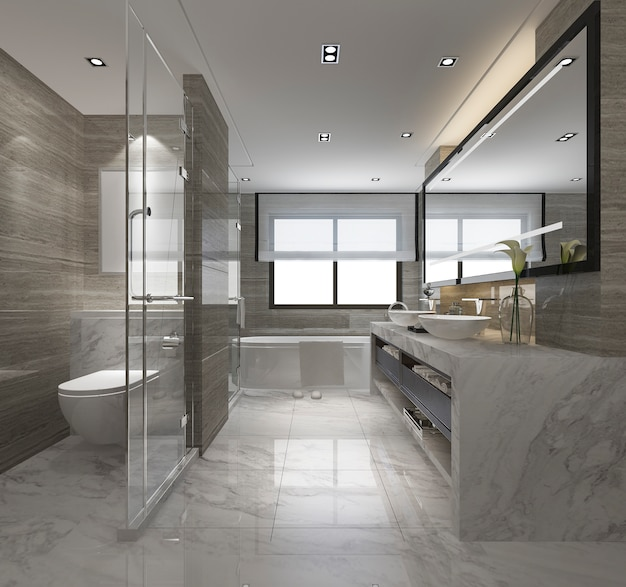 3d rendering modern bathroom with luxury tile decor Premium Photo