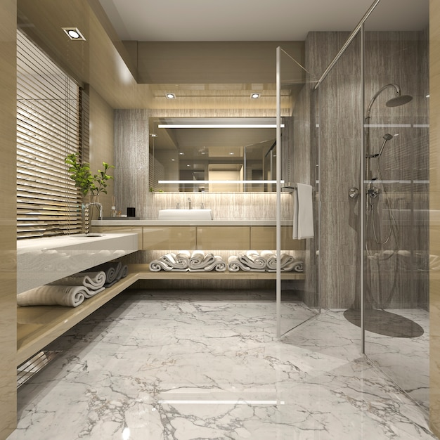 3d rendering modern bathroom with luxury tile decor Premium Photo