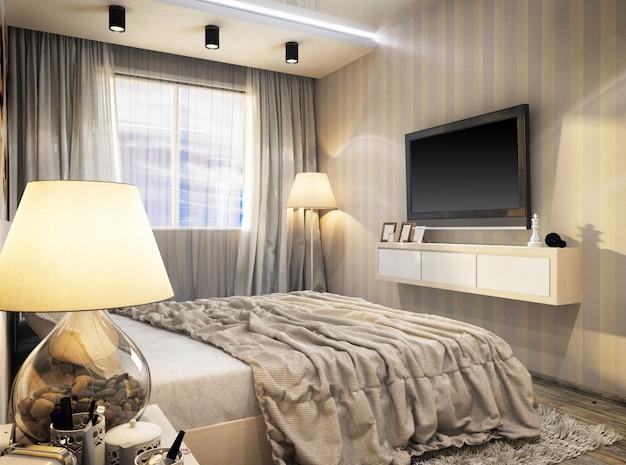 3d rendering of modern bedroom Premium Photo