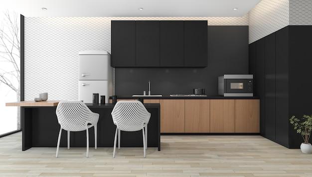 3d rendering modern black kitchen with wood floor near window Premium Photo