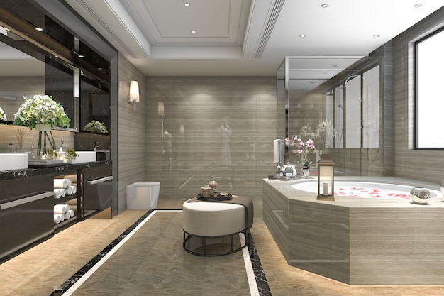 decorative windows for bathrooms.htm 3d rendering modern classic bathroom with luxury tile decor with  3d rendering modern classic bathroom