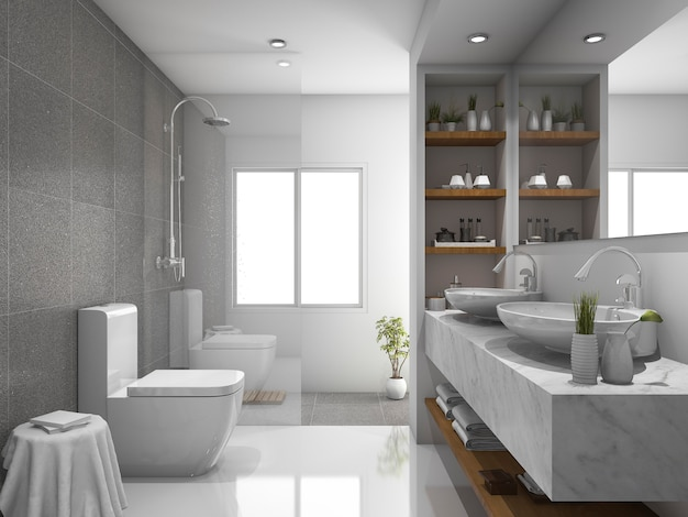 3d rendering modern design and marble tile toilet and bathroom Premium Photo