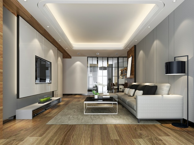 Premium Photo 3d Rendering Modern Dining Room And Kitchen With Living Room With Luxury Decor