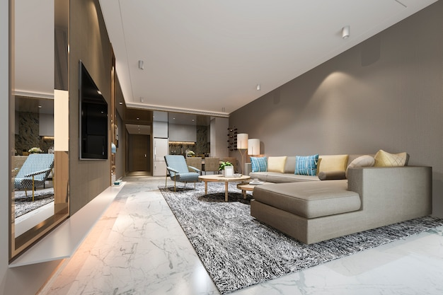 3d rendering modern dining room and living room near kitchen with luxury colorful decor Premium Photo