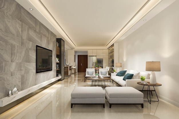 3d rendering modern dining room and living room with luxury decor Premium Photo