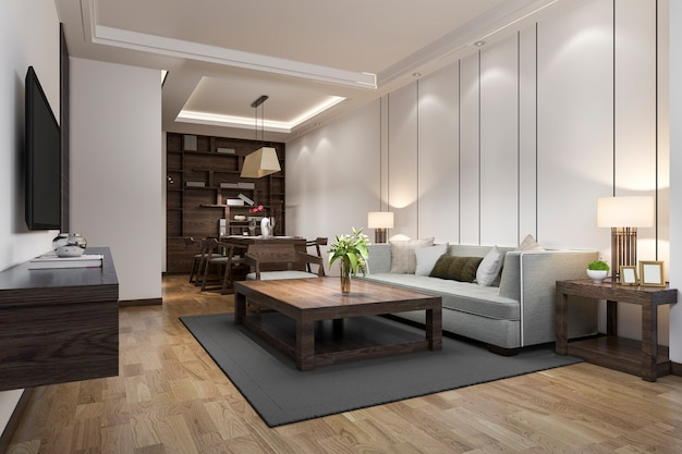 3d rendering of modern dining room and living room with luxury decor Premium Photo