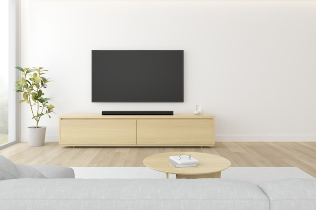 Premium Photo 3d Rendering Of Modern Living Room With Sofa And Hanging Television Screen On White Wall