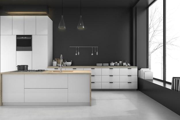 3d rendering modern loft black kitchen and dining room in winter Premium Photo
