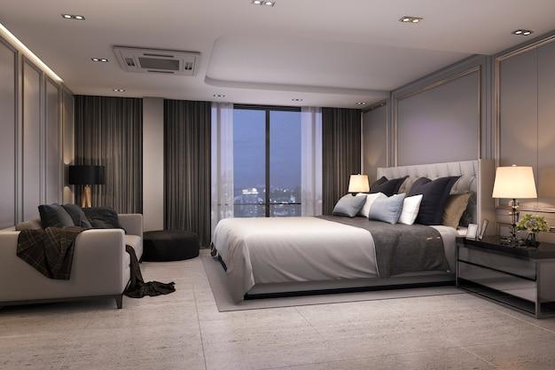 居心地の良いデザインの夜の3 dレンダリングモダンで豪華なベッドルームスイート Premium写真