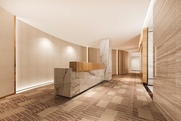 대리석 장식 3d 렌더링 현대 고급 호텔 및 사무실 리셉션 및 라운지 프리미엄 사진
