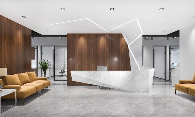 3d 렌더링 현대 고급 호텔 및 사무실 리셉션 및 회의 의자와 노란색 소파 라운지 프리미엄 사진