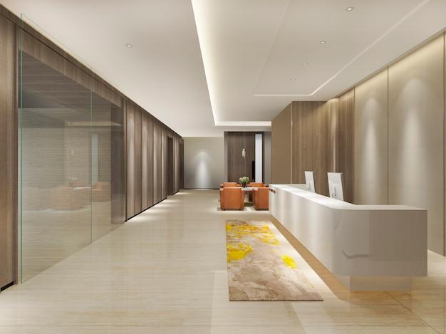 3d 렌더링 현대 고급 호텔 및 사무실 리셉션 및 라운지 프리미엄 사진