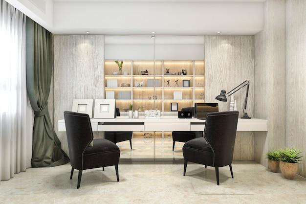 3 dレンダリングモダンで豪華な作業室 Premium写真