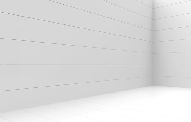 3dレンダリング。モダンなシンプルな最小限の白いパネルコーナールーム壁デザインの背景。 Premium写真