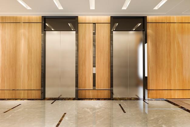 로비와 복도 근처 고급스러운 디자인의 비즈니스 호텔에서 3d 렌더링 현대 철강 엘리베이터 리프트 로비 프리미엄 사진