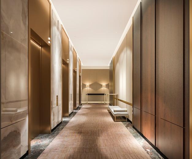 고급스러운 디자인의 비즈니스 호텔에서 3d 렌더링 현대 철강 엘리베이터 리프트 로비 프리미엄 사진