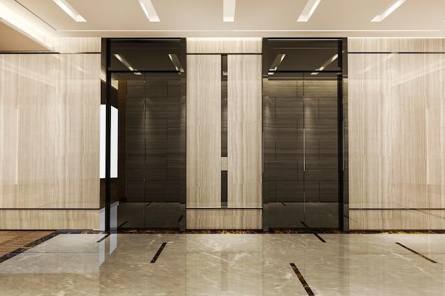 복도 근처 고급스러운 디자인의 비즈니스 호텔에서 3d 렌더링 현대 철강 스테인레스 엘리베이터 리프트 로비 프리미엄 사진