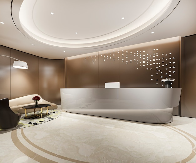 3d 렌더링 현대 따뜻한 갈색 고급 호텔 및 사무실 리셉션 및 라운지 프리미엄 사진