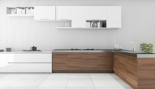 3d rendering modern wooden bar in kitchen Premium Photo