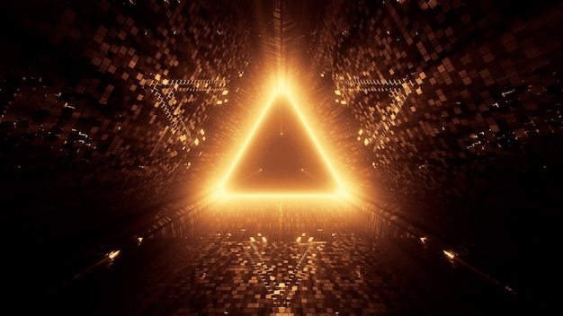 3d rendering of neon laser lights in a triangular shape with a black background Free Photo