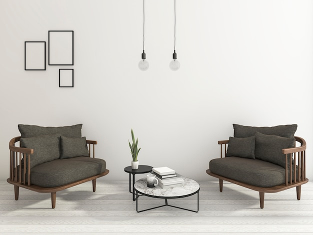3d rendering nice armchair with book and cup and some hanging lamp in white background Premium Photo
