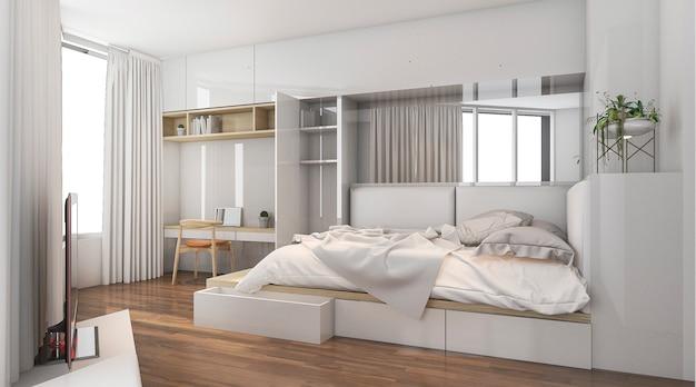 3d rendering nice daylight in good design bedroom Premium Photo