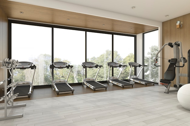 3d rendering nice garden view wood gym and fitness Premium Photo
