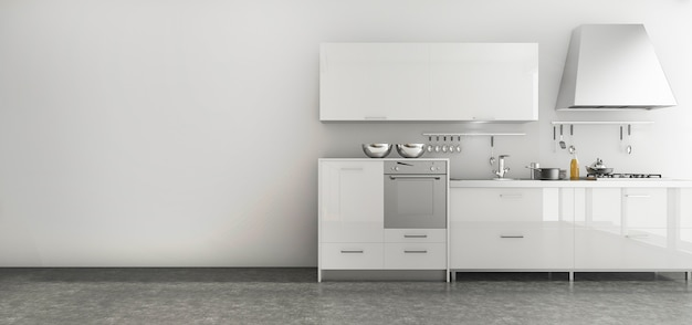 3d rendering nice kitchen set in minimal style room Premium Photo