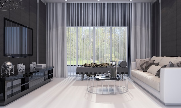 3d rendering nice modern design luxury living room  with grey sofa and tv shelf Premium Photo
