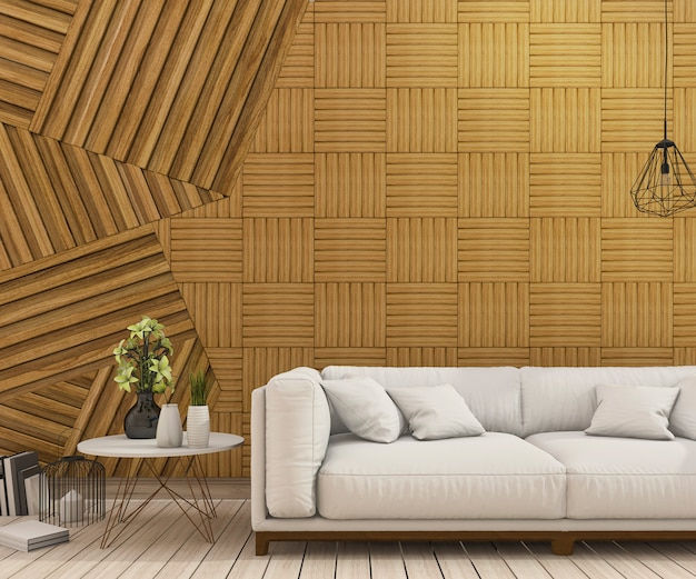 3d rendering nice sofa with abstract wood wall design Premium Photo