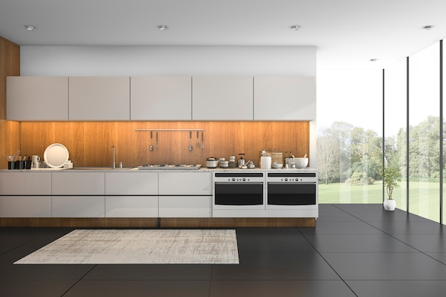 3d rendering nice view wood kitchen with black tile Premium Photo