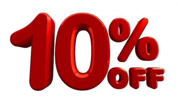 3d-рендеринг 10 процентов в белом Premium Фотографии
