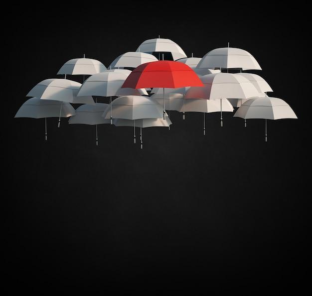 3d-рендеринг группы светло-серых зонтов и красного, плавающего в воздухе, с местом для копирования под ними Premium Фотографии