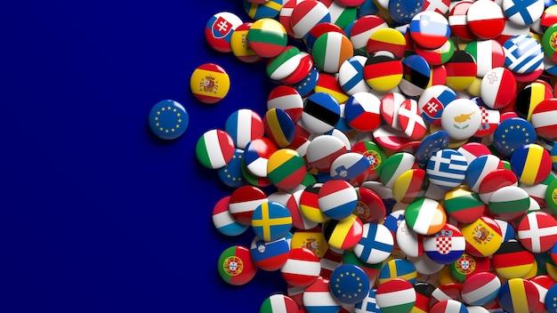 파란색 위에 유럽 연합의 플래그 광택 단추를 많이의 3d 렌더링 프리미엄 사진