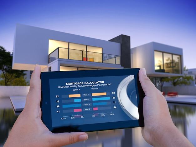 3d-рендеринг мобильного устройства с ипотечным калькулятором и роскошным домом на фоне Premium Фотографии