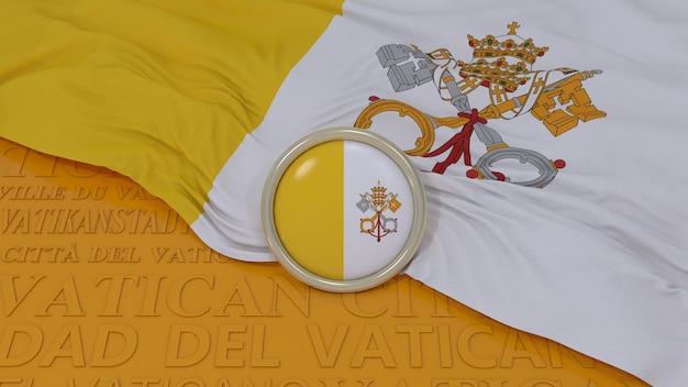 バチカン市国の旗の3dレンダリング Premium写真