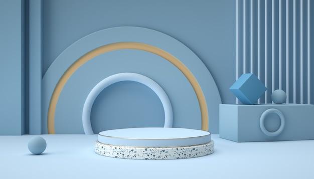 3d рендеринг абстрактных фоновых сцен и геометрических фигур подиума Premium Фотографии