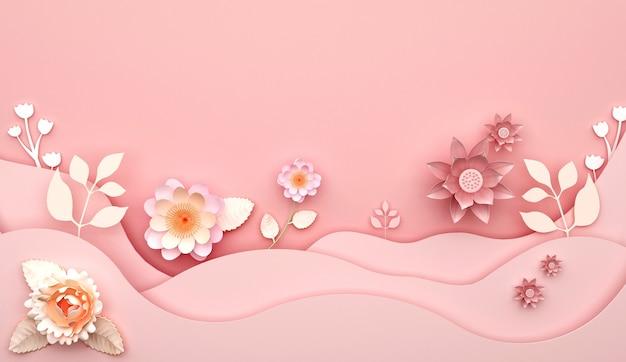 꽃 장식과 추상 분홍색 배경의 3d 렌더링 프리미엄 사진
