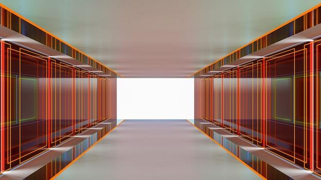 3d-рендеринг абстрактной научно-фантастической темы в геометрическом стиле, абстрактное освещение в коридоре Premium Фотографии