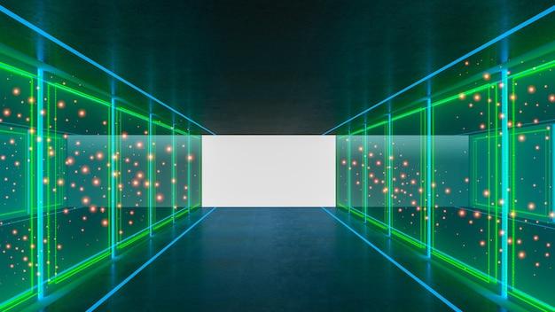 幾何学的なスタイルの抽象的なsfテーマの3dレンダリング、廊下の抽象的な照明 Premium写真