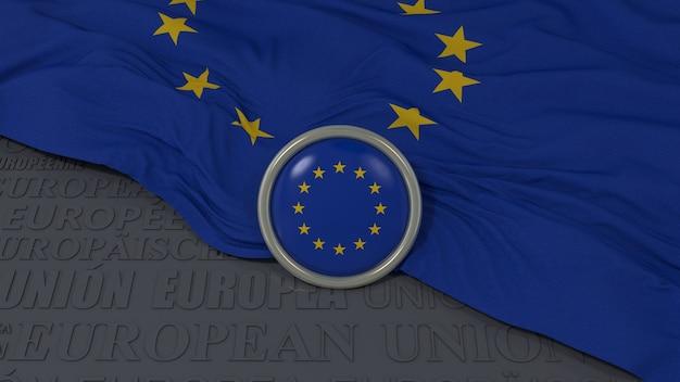 유럽 연합 국기와 파란색 배경 위에 광택있는 버튼의 3d 렌더링 프리미엄 사진