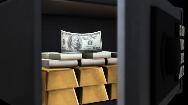 3d-рендеринг открытого сейфа с деньгами и золотом Premium Фотографии